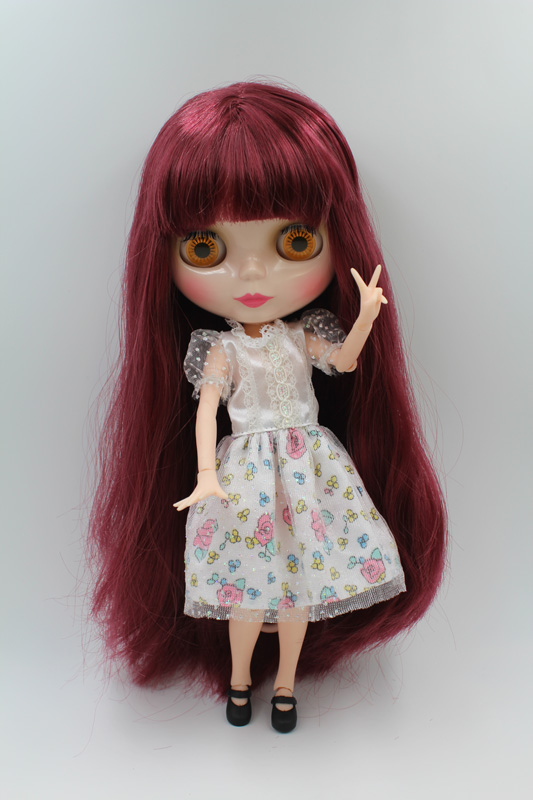 Free Shipping BJD joint RBL-218J DIY Nude Blyth doll birthday gift for girl 4 colour big eyes dolls with beautiful Hair cute toy купить