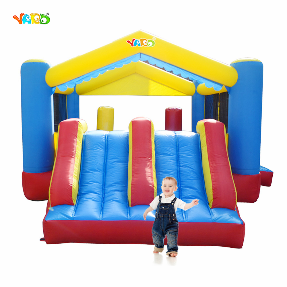 YARD Kids Outdoor Play Inflatable Trampoline with Slide Jumping House for Children Toys Inflatable Bouncer for Outdoor Sports inflatable ice cream bouncer jumping house 0 55mm pvc inflatable colorful bouncer for kids outdoor structure toys for event