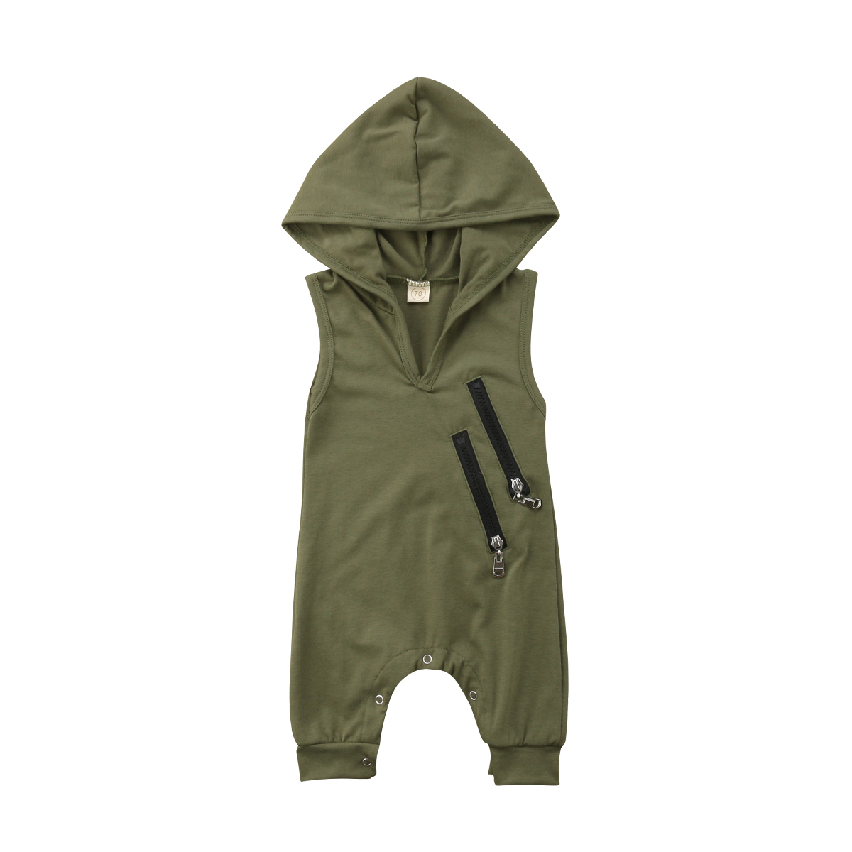 Sleeveless Toddler Baby Boys Girls Hooded   Romper   Zipper V neck Jumpsuit Outfit Clothes 0-24M