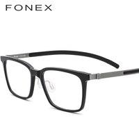 FONEX Pure Titanium Glasses Frame Men Acetate High Quality Square Myopia Optical Prescription Eyeglasses Screwless Eyewear 9106
