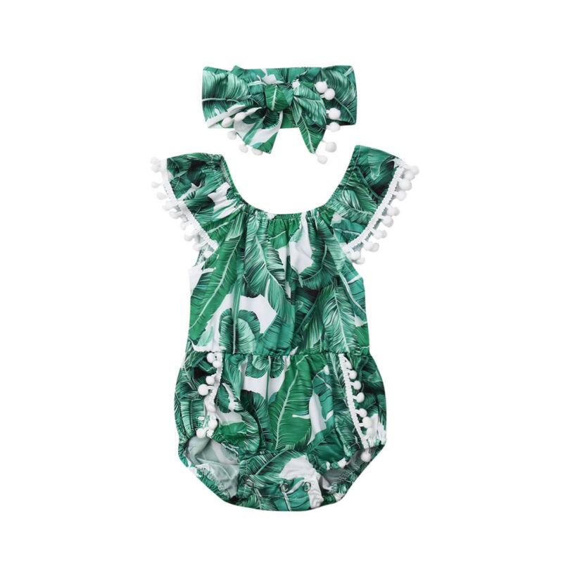 Newborn cute baby girl   romper   fashion leaf print tassel sleeveless jumpsuit baby clothes suit
