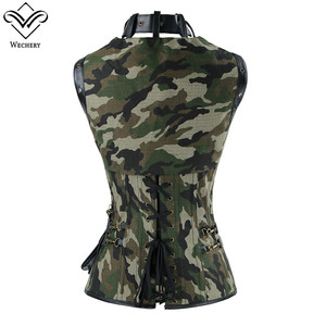 Image 2 - Wechery Army Green Corset Military Style Bustier Tops for Women Hollow Out Lace Up Corsets with Choker Camouflage Body Shapers
