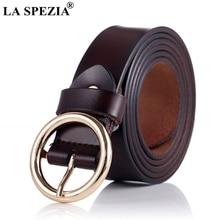 LA SPEZIA Coffee Pin Belt Women Real Leather Ring Belt Ladies Classic Genuine Leather Cowhide Female Vintage Accessories Belt