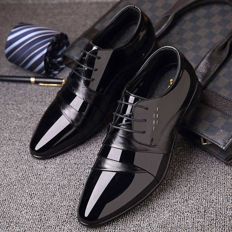 OSCO Formal Men PU Leather Shoes Italian Dress Male Footwear Pointed Toe Business Office Working Oxford
