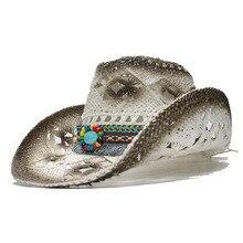 LUCKYLIANJI Для женщин Для мужчин летние соломенные пляжные ковбой Западные Пастушка фетровая шляпа с кисточкой бирюзовый кожа шарик группа(58 см