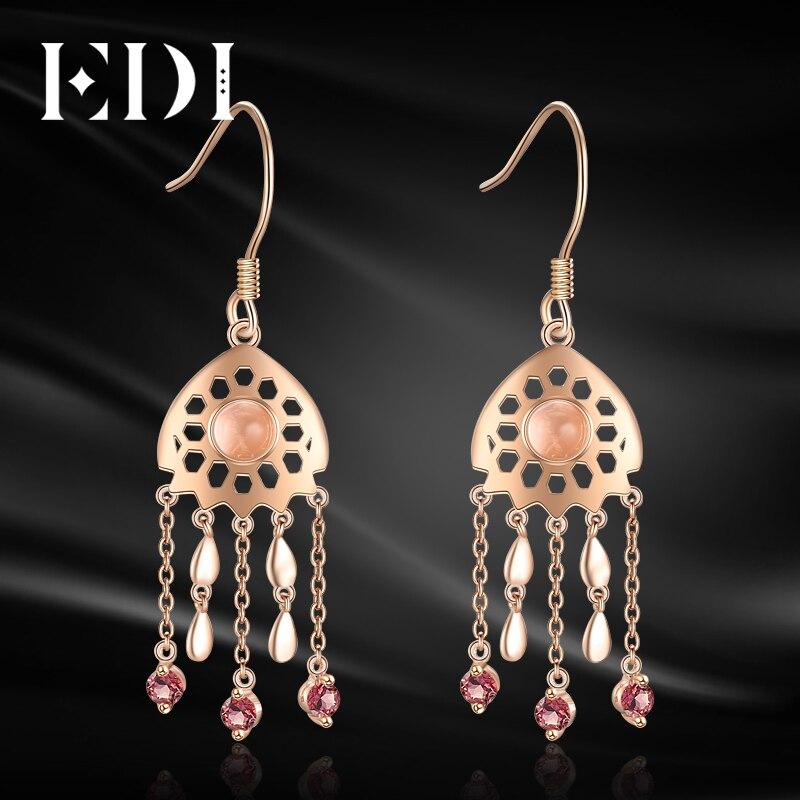 EDI Trendy Natural Rose Quartz Crystal Garnet 100% 925 Sterling Silver Tassels Drop Earrings For Women Fine Jewelry pair of classic faux crystal tassels earrings for women