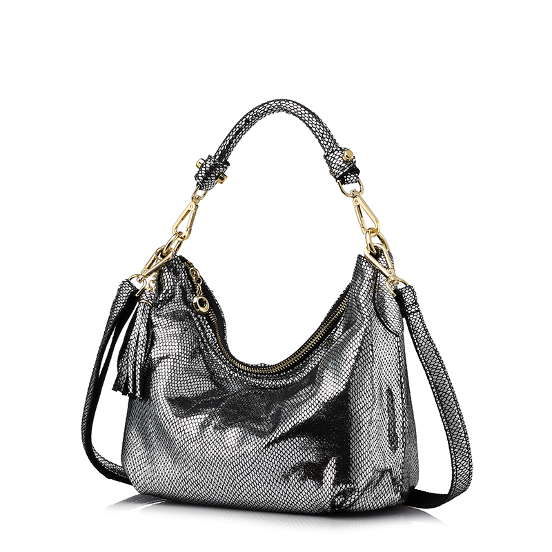 REALER brand women genuine leather shoulder bag serpentine pattern small handbag casual tote bag lady crossbody bag Gold/Silver