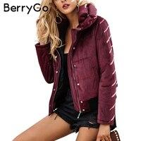 BerryGo Velours coton rembourré de base veste manteau Femmes chaud vin rouge parkas vestes femme 2017 automne hiver survêtement occasionnel