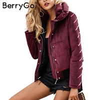 BerryGo Velvet Cotton Padded Basic Jacket Coat Women Warm Wine Red Parkas Jackets Female 2017 Autumn