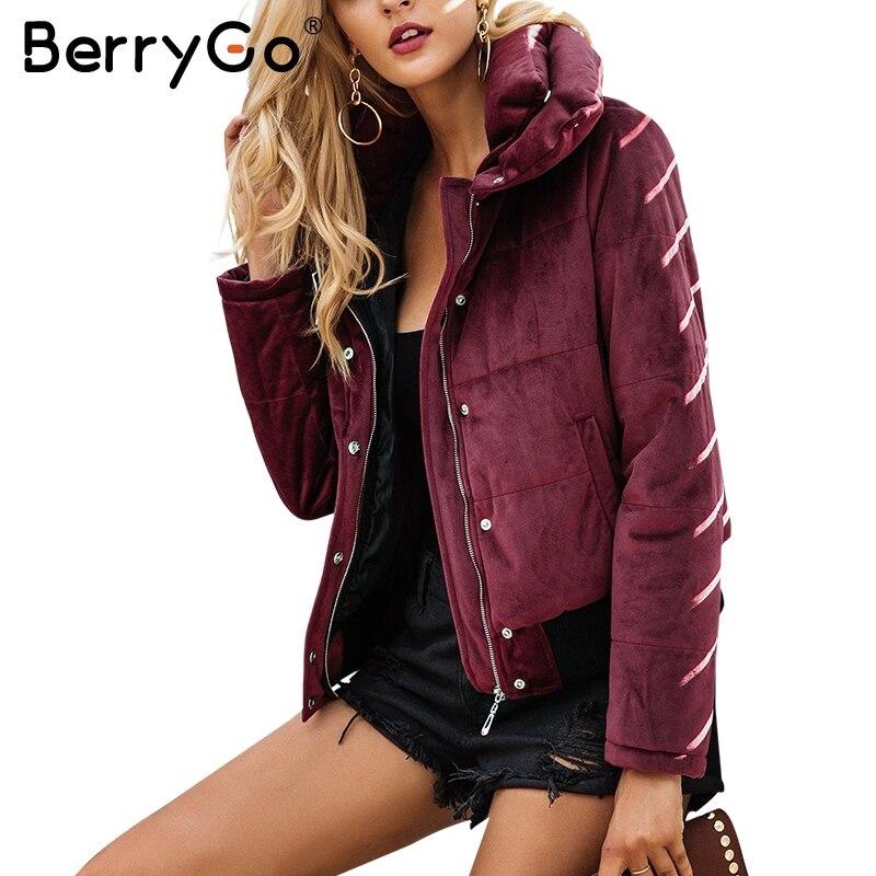 Berrygo бархат хлопок Мягкий Базовая куртка пальто Для женщин теплые красное вино парки Куртки женский 2017 на осень-зиму Повседневная Верхняя о...