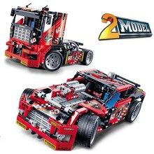 מירוץ משאית רכב 2 ב 1 להמרת כיבוי אש משאית Deformable אופנוע טכני 42041 דגם אבני בניין צעצועים
