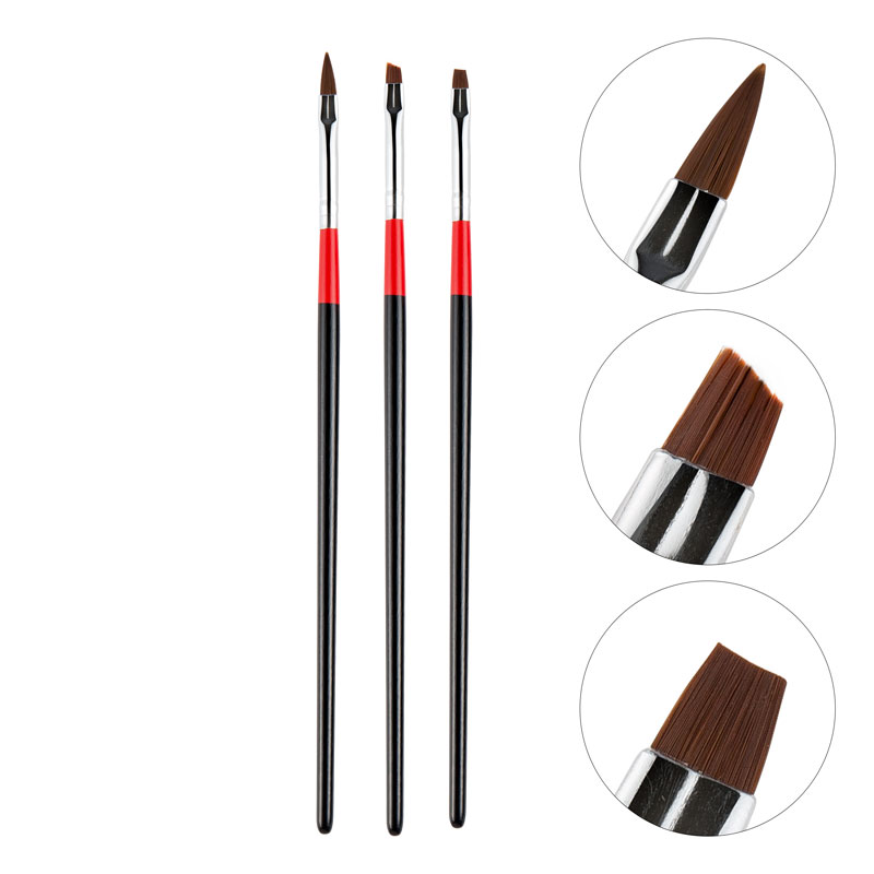 Top Quality 3Pcs Set Nail Art Brush Made With Wooden And Fiber Hair Material For Manicure Tool Set 8
