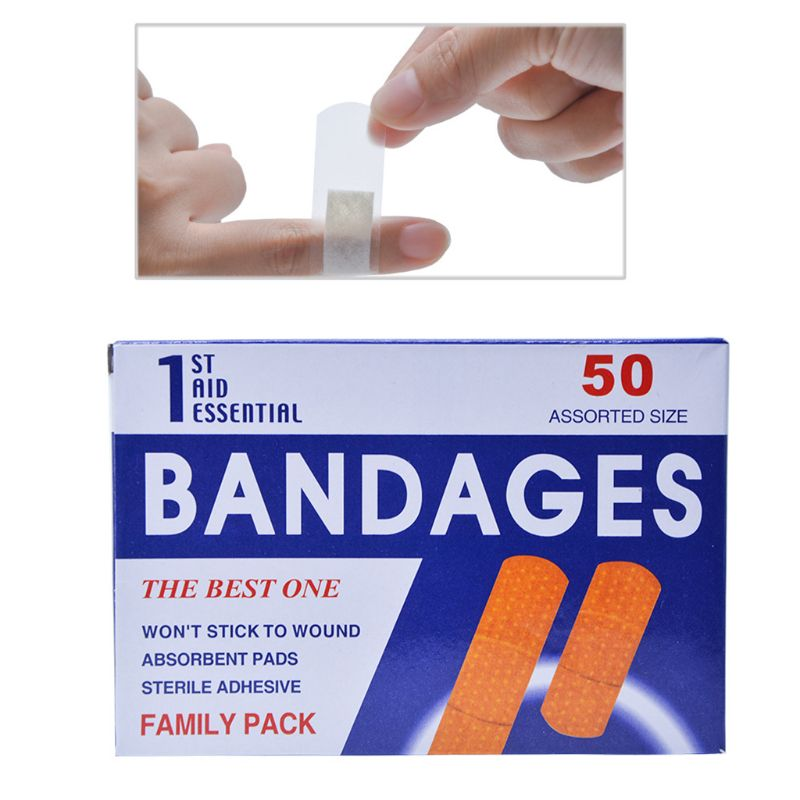 50Pcs/Box Breathable Anti-Bacteria Adhesive Wound Paster Bandage Sticker Medical Healing Band Hemostasis First Aid Kit Supplies