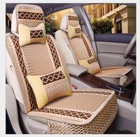 Luxury Car Seat Cushion Hand woven Ice Silk with Wood Beads Car Seat Cover Summer Front&Rear 5 Seat Universal Car Seat Cushion