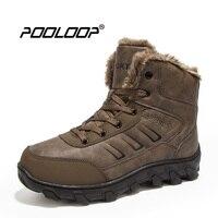 POOLOOP Tamaño Grande de Los Hombres Botas de Invierno Causales Botas de Trabajo Al Aire Libre hombres de Trabajo y Zapatos De Seguridad A Prueba de agua Nieve Caliente Botas Para Hombre de Piel Botas