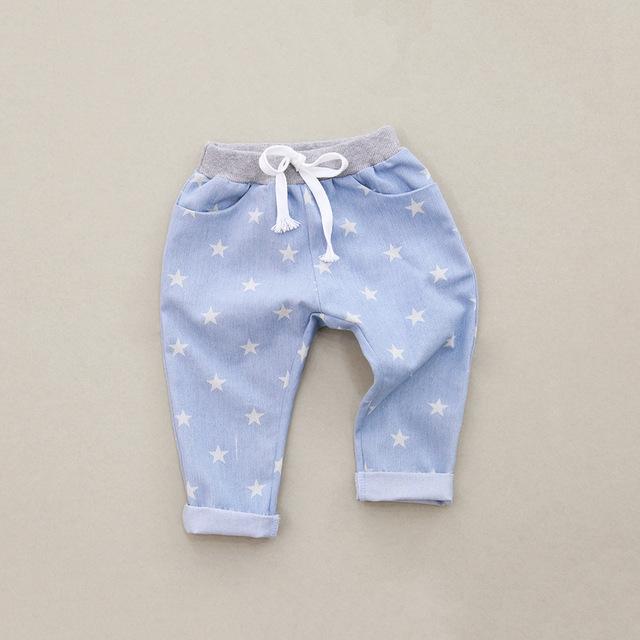 Primavera pantalones de los cabritos niños niñas niños del bebé harén pantalones casuales para las niñas de algodón completo estrellas impreso pantalones alta calidad
