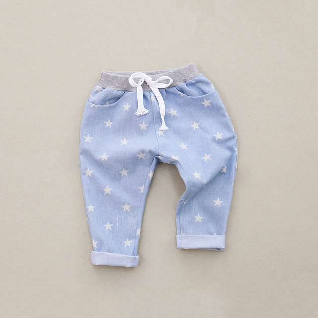 Spring Kids pants girls baby jeans children jeans harem casual trousers for girls cotton full stars printed pants high quality
