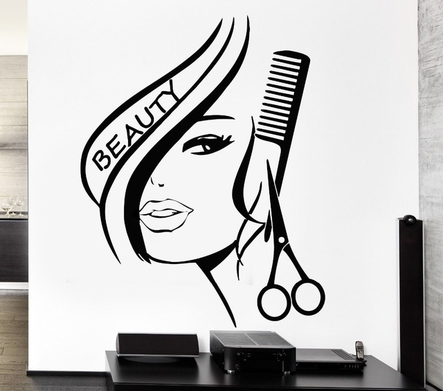 Free shipping home decor wall stickers vinyl decor hair beauty salon barbershop sexy girl