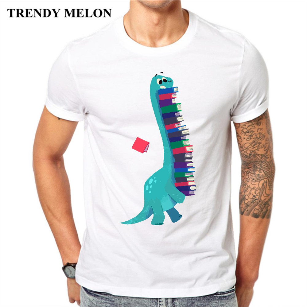 Trendy Melon Funny Cartoon T shirt Men Books Dinosaurs Cool Novelty Tshirt Casual Cotton White Tops Hipster Tees MAA04 ...