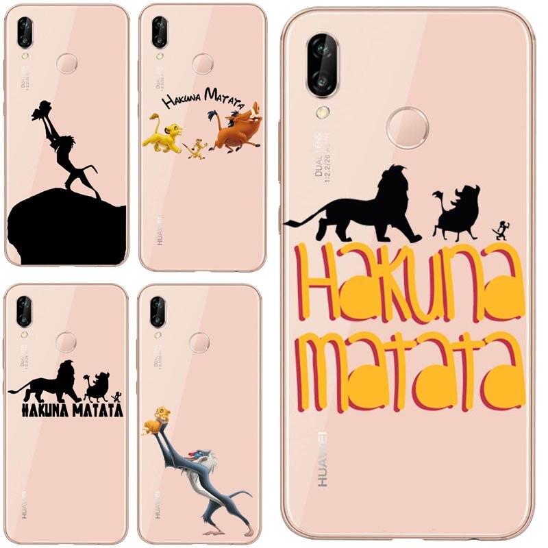 Lion roi ponce Hakuna Matata doux coque en polyuréthane thermoplastique pour Huawei Mate30 P8L P20L P20LITE P30 Mate 8 9 10 Mate 20Por RS