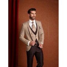 8038d4e5321ca Koyu Şampanya ve Kahverengi Klasik Erkek Takım Elbise Resmi Slim Fit Suits  Özel Erkekler Terno Vestidos 2017 Yeni Smokin (Ceket .