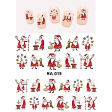 Nail Sticker WATER DECAL SLIDER MERRY XMAS CHRISTMAS SANTA CLAUSE SOCKS MOON SNOW MAN GIFTS BOX KIDS RA019-024