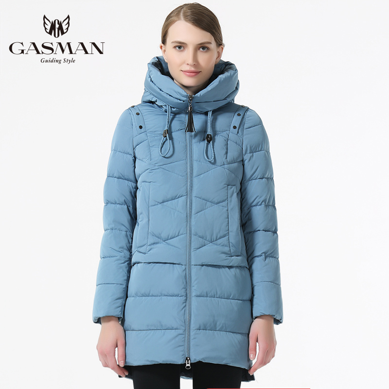 GASMAN 2019 Women Winter Hooded Thickening Coat Fashion Slim Down Jacket Female Windproof Overcoat Casual Hooded Bio Down   Parka