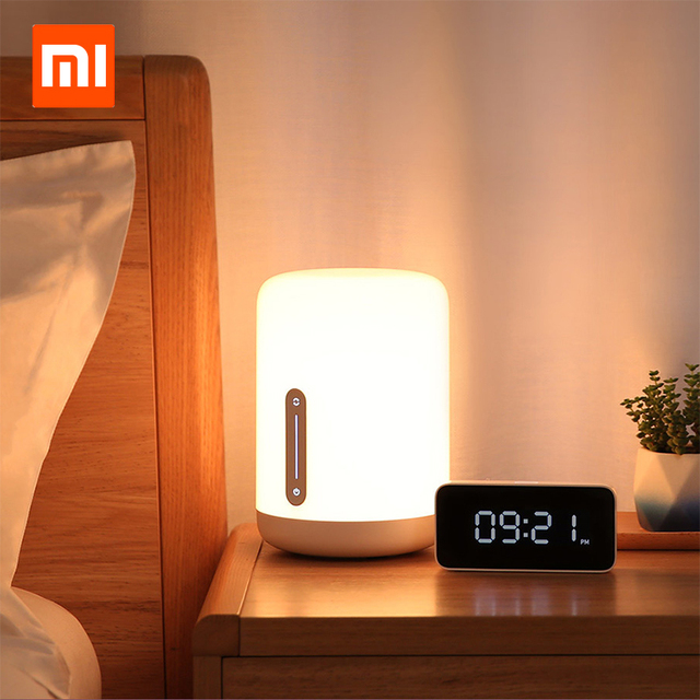 مصباح شاومي Mijia بجانب السرير 2 مصباح ذكي للتحكم في الصوت مفتاح لمس Mi تطبيق منزلي لمبة Led لأبل Homekit Siri و xiaoai ساعة