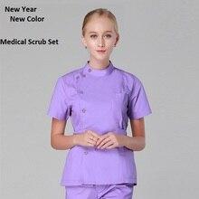 New Arrived!Hospital Beauty Salon Clinic Woman Doctor Surgical Scrub Set Short Sleeve Isolation Medical Suit Nurse Shirt Pant 09