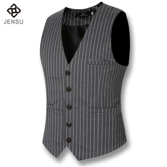 2016 New Men Dress Suit Blazers Vests Men's Casual Fashion Slim Fit Large Size Sleeveless Wedding Stripped Blazers Vests Male