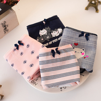 4Pcs/Lot Sexy Female Underwear Women's Cotton Panties Funny Cute Cat Printed Lady Breathable Underpants Girls Briefs