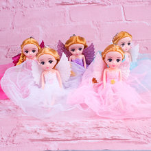 2019 New fashion jewelry 22 cm angel doll girl play house toy multi-layer chiffon skirt cartoon doll pendant gift(China)