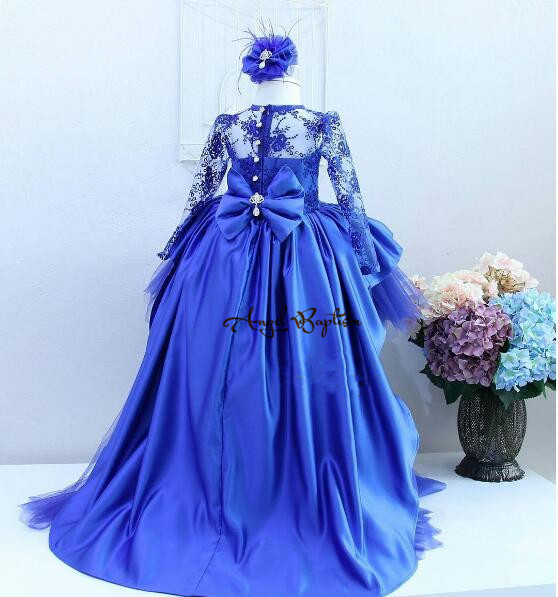 Royal blue sheer lace long sleeves hi-lo ball gown baby girl birthday pageant dresses little princess prom party gown with train