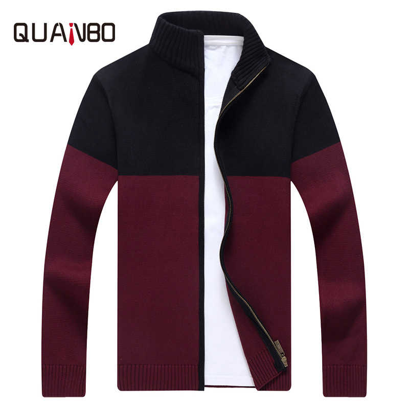 QUANBO Marke Kleidung der Männer Strickjacke Männer Pullover 2018 Neue Ankunft Herbst Strickwaren Zipper Pullover Mode Männlichen Patchwork mantel