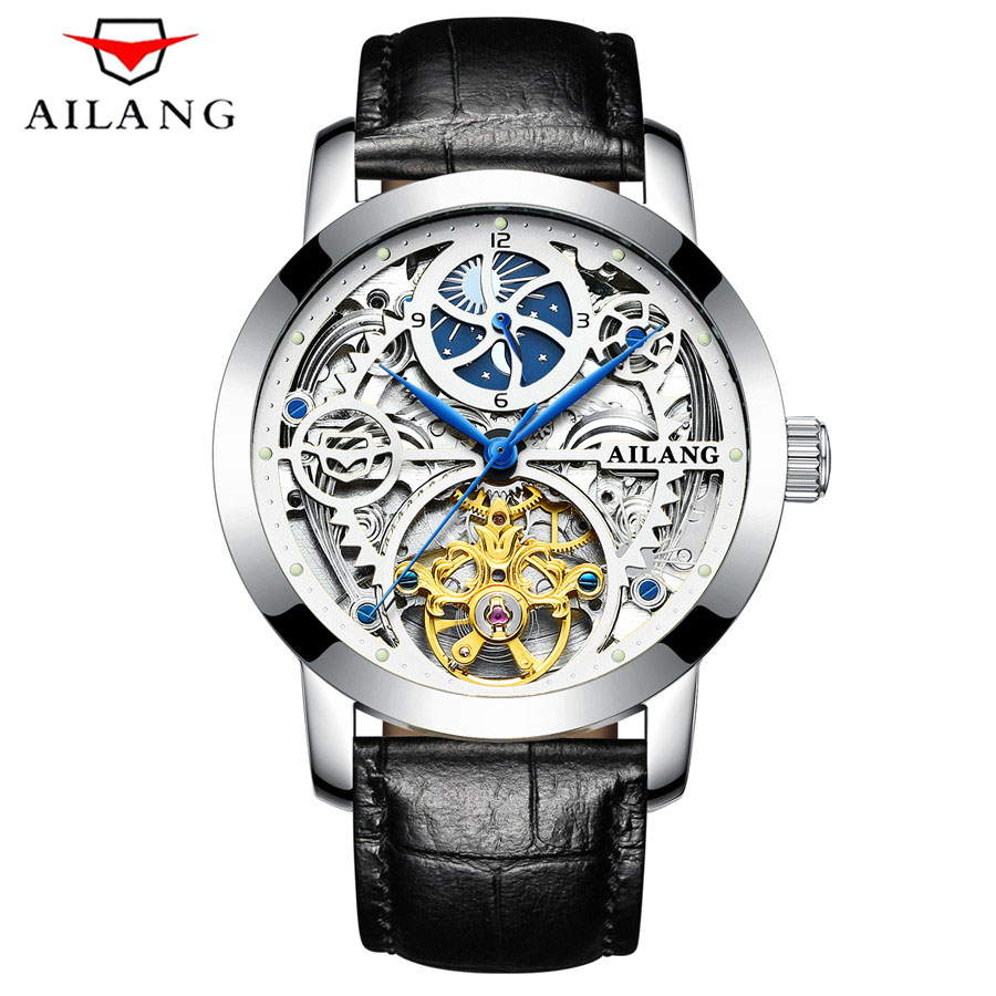 AILANG New 2018 Men Full-automatic Mechanical Watch Tourbillon Luxury Fashion Brand Genuine Leather Man Noctilucent Watches AILANG New 2018 Men Full-automatic Mechanical Watch Tourbillon Luxury Fashion Brand Genuine Leather Man Noctilucent Watches