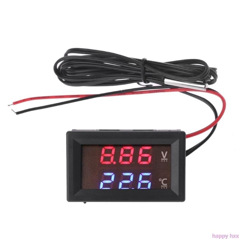 New 12V/24V LED Display Car Voltage & Water Temperature Gauge Voltmeter Thermometer