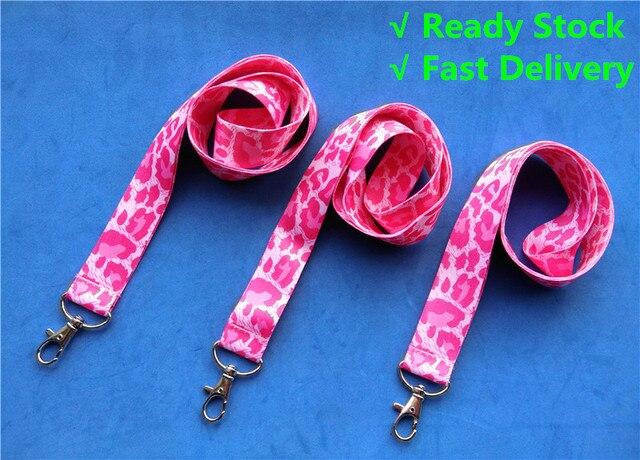 1 peça Rosa/Vermelho Leopardo Cordão para chaves ID Badge Titulares Cheetah Animal Phone Straps Pescoço com Chaveiro 1 polegada de largura