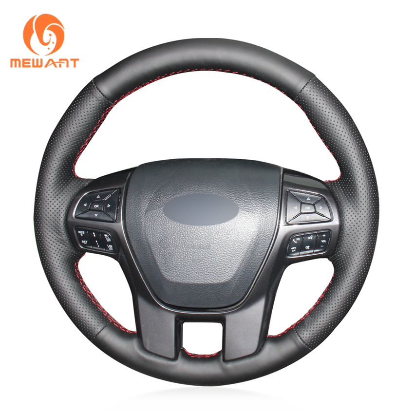 MEWANT Black Artificial Leather Car Steering Wheel Cover for Ford Ranger Everest 2016 часы nixon ranger 45 leather black red