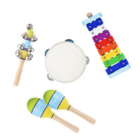 4pcs Musical Instruments Percussion Toy Rhythm Band Set Hot Bell Stick Maracas&Glockenspiel for Christmas Kids Gifts