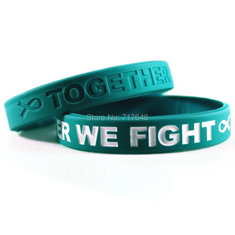300pcs Awareness Ovarian Cancer Teal Wristband Silicone Bracelets Free Shipping By Fedex Silicone Bracelet Bracelet Free Shippingwristband Silicone Aliexpress