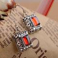 Red Zircon Earring 925 Sterling Silver Women Vintage Square S925 Thai Silver boucle d'oreille Drop Earrings