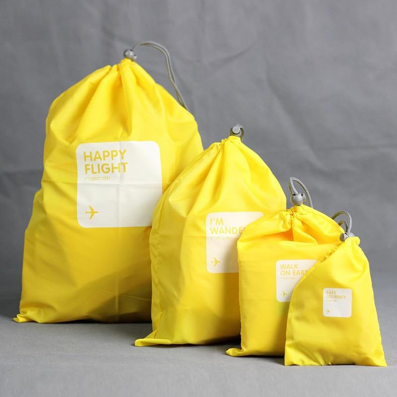 4 Pcs Simple Print Storage Bag Traveling Clothing Waterproof Harness Finishing Pocket Cosmetic Drawstring Bag