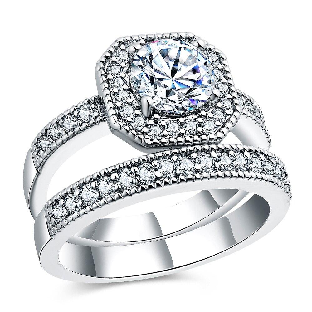 Romad ювелирные изделия обещание Обручение двойные кольца для пары Для мужчин Для женщин ...