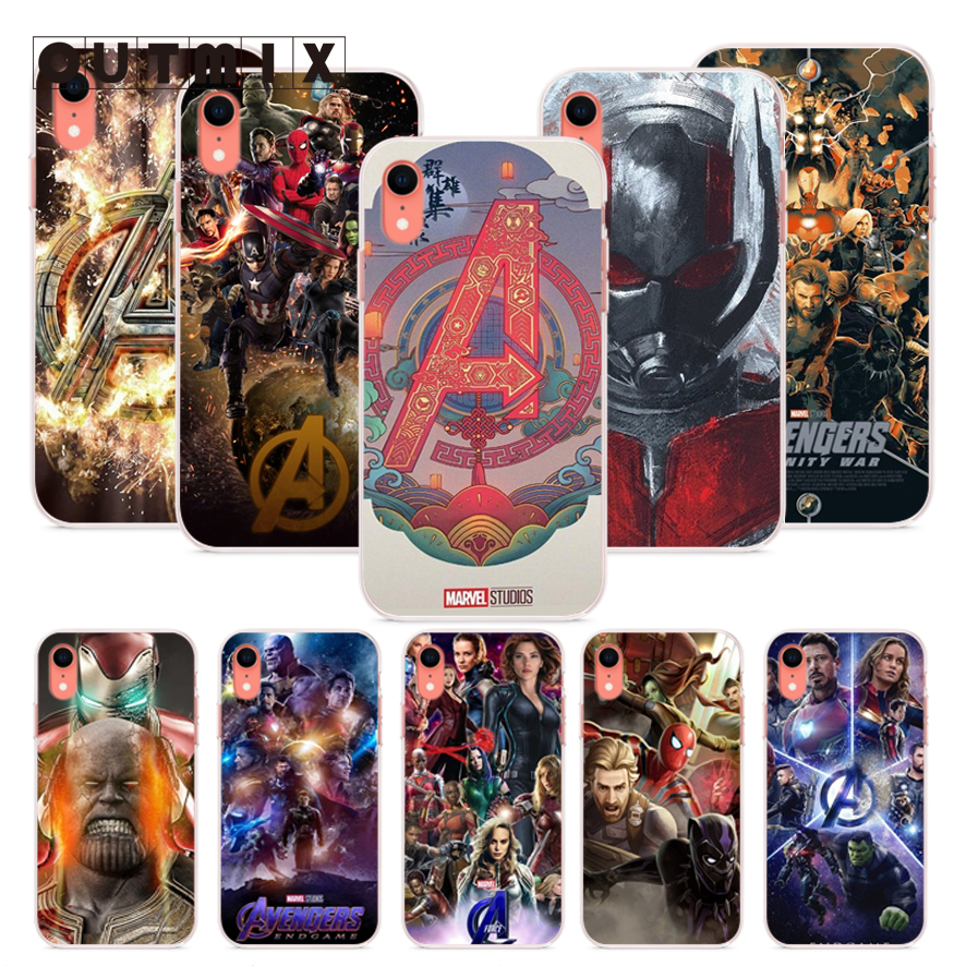 OUTMIX Avengers Endgame Phone Back TPU Cover Case For iPhone 7 7plus 8 8plus X XS XR max 5 5s 6 6S 6plus marvel glass iphone case