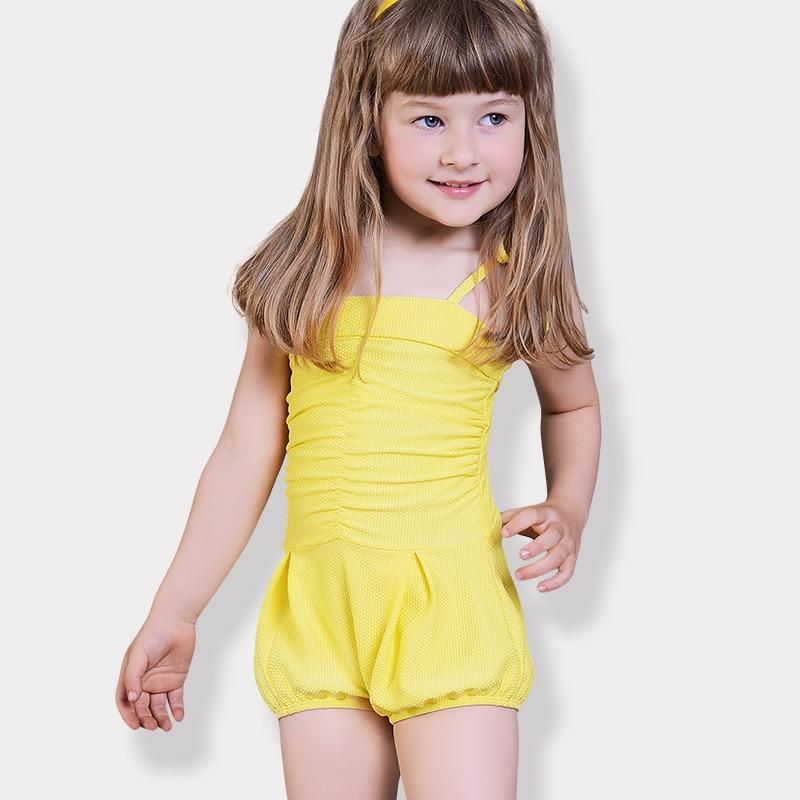 swimwear kids 2018 one piece yellow girl swimsuits for ...