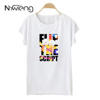 Unique Oversized White Summer Women Blouse Camiseta Short Batwing Cartoon T Yellow Bird Letter Flip Print