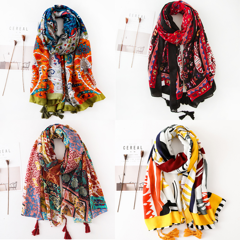 2018 Spring Autumn New Design Ethnic Style Voile Cotton Women Thin Long Shawl   Scarf   Woman Pashminas   Wrap   Hijab 36 Designers