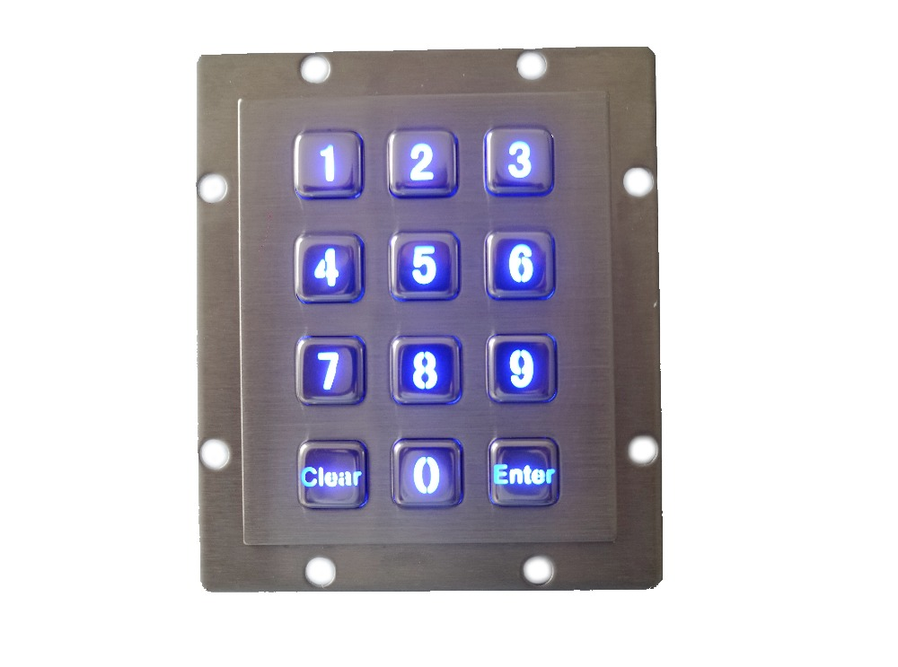 12 keys numeric backlit keyboard with 2 function keys blue illuminated key button USB metal keypad
