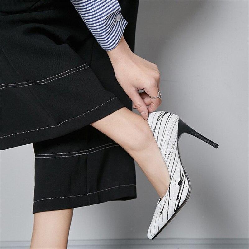 Pompe Formato Da Msstor bianco Partito Nero Punta Alto Tacco Il Scarpe 42 Super Plus Nero Vera In Moda High 34 Pelle Donna A Bianca Signore pUxwrUFPXq