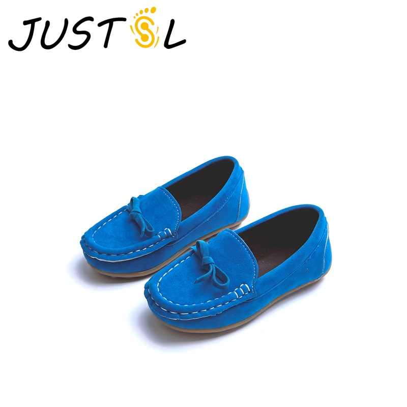 JUSTSL 2017 summer childrens peas shoes girls boys solid casual non-slip shoes kids cow muscle shoes size 21-36